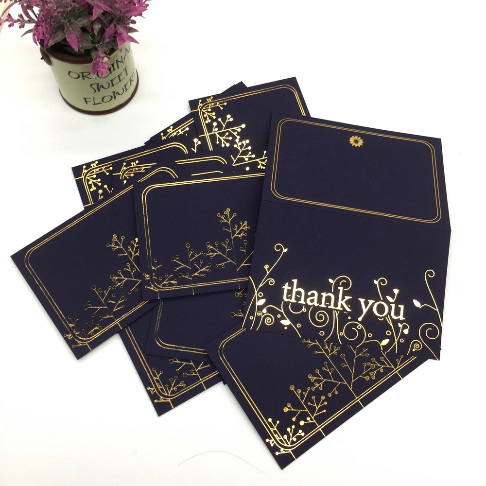 Gorgeous Thank You Cards With Envelopes - Set Of 100 Navy Blue Thank You Notes In Gold Foil Embossed Lettering