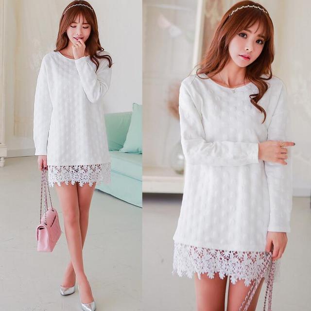 d96052t new arrival bubble bottom lace women's dresses women long pattern ladies t shirt with lace