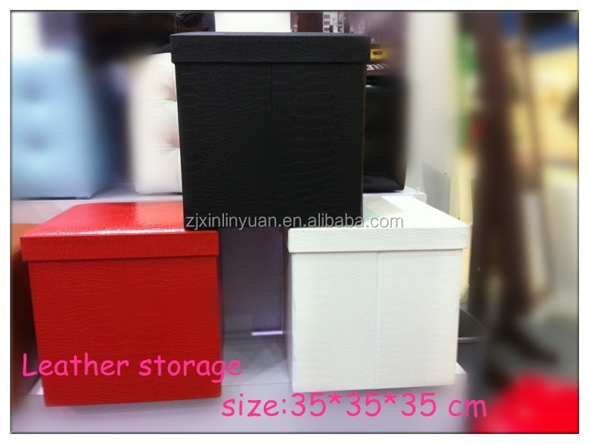 Factory provide pu leather storage stools and folding storage poufs with new style