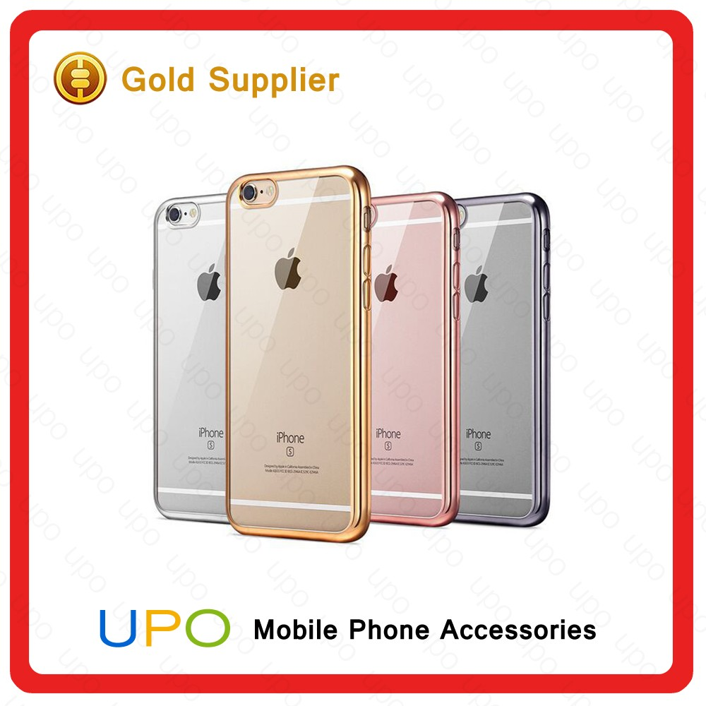 "[UPO] 2016 NEW 4.7"" 0.5MM Waterproof TPU PC Case Cover Transparent Electroplate Soft Custom TPU Case for iphone 6S"