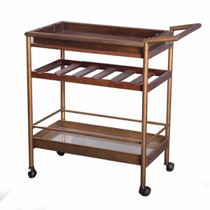 Good Price Hotel Restaurant Mini Bar Design Wooden Mobile Room Wine Beer Tea Food Service Serving Hand Cart Trolley With Wheels