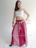 Fashion Ladies Cotton Gypsy Boho Long women Skirt with Thai Coconut Belt
