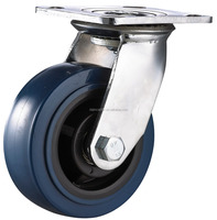 double ball bearing elastic rubber caster wheel with brake for industrial