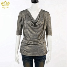 pleated cowls top women t shirt