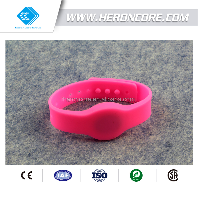 Factory custom NTAG203 waterproof HF silicon bracelet RFID band,nfc watch-strap wristband