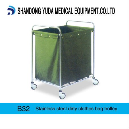 B32 Stainless steel dirty clothes bag trolley