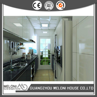 With range hood and microwave oven pearl white lacquer kitchen cabinet