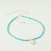 Boho Jewelry Beach Blue Seed Beaded Shell Pendant Necklaces Women