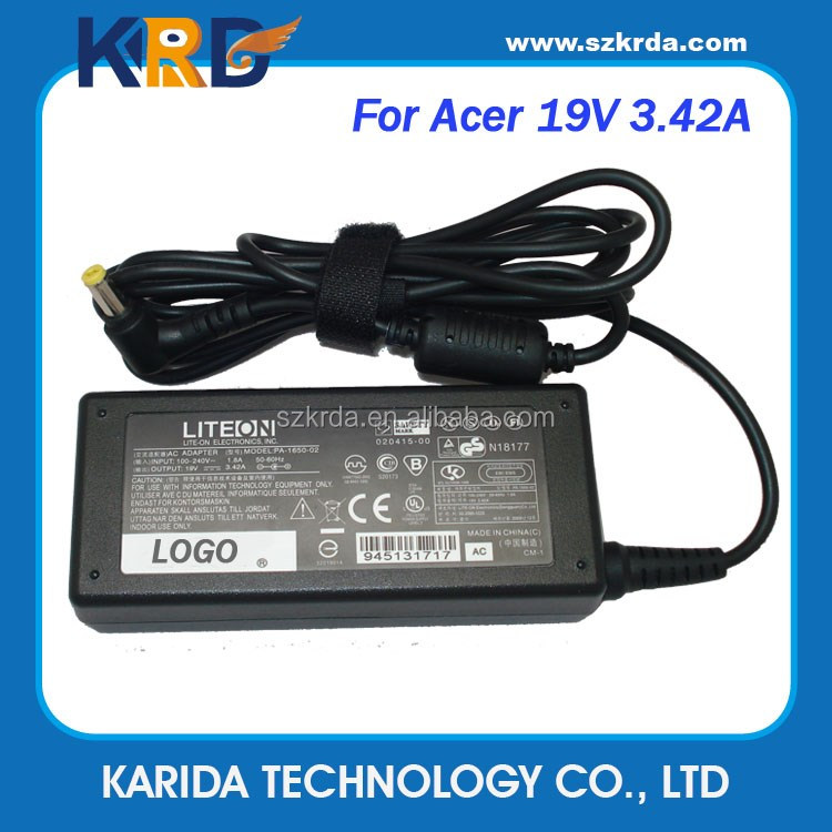 AC DC Adapter for Acer 19V 3.42A 65W notebook charger PA-1650-02