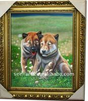 classical framed animal dogs oil painting