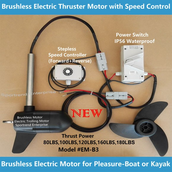 Brushless electric thruster trolling motor with speed for Best outboard motor for saltwater