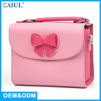 Ladies Girls Party Handbag Leather Sweet Style Colorful DSLR Camera Bag Pink Color
