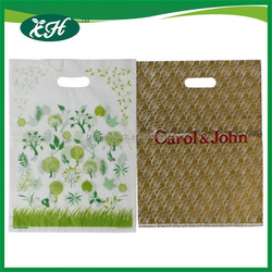 2015 christmas100 biodegradable die cut handle plastic decorative shopping bags