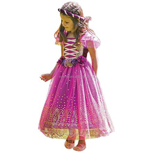Purple and Gold Girls Tudor Medieval Fairy Plum Princess Fancy Dress Costume SA842
