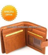 custom made tan lambskin mens leather wallet/ customized flap man wallet wholesaler