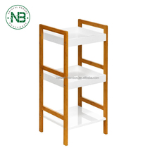 3 Tier Shelf Units White MDF High Gloss Finish/Bamboo Books Storage Solution