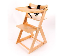 With dinning tray beech wood multi-function wooden baby high chair with dining tray