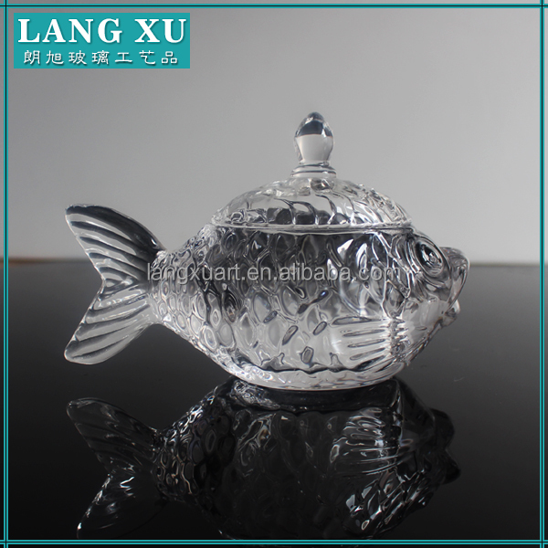 fish shape crystal clear animal-shaped glass jar for candy