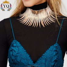 NYQ-00739 new design hot sale gold and silver spike egyptian style statement alloy choker collar necklace big fashion necklace