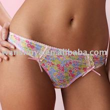 Sexy Pink Floral Bikini Thongs For Beach Wearing