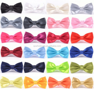 Mens Fashion Pre-tied Bowtie Set Solid Color Bow Ties Wholesale Satin Finish
