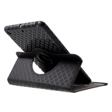 360 Degree Rotating Stand Grid Pattern Leather Cover Case for iPad Mini 3 2 1