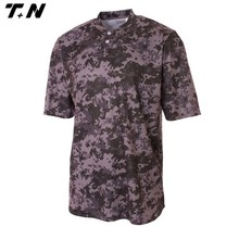 Wholesales Button Fashion Embriodery Club Logo Softball Shirt Men Polyester Camo Custom Sublimated Baseball Jersey