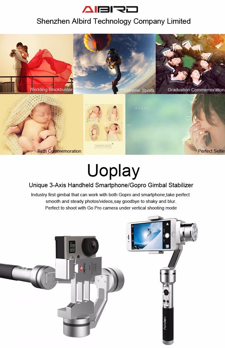 Novos Acessórios Do Telefone Aibird Uoplay VS DJI Zhiyun Osmo Telefone Móvel cardan Estabilizador para IPHONE 7 plus e Ir pro 3 3 + 4