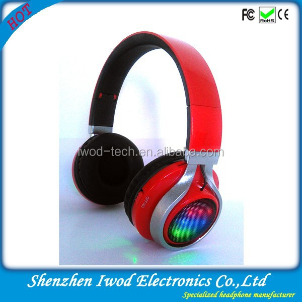 Hottest wireless music mp3 headphone with fm radio tangle free bluetooth headset