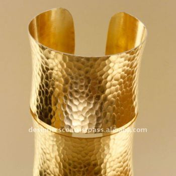 Hammered Concave Brass Cuff