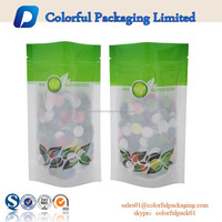 120microns food plastic pouch wholesales foil printing stand up bag with window