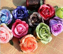 European Style High End Artificial Silk Flowers Wall Artificial Colorful Rose Head DIY Trade in China