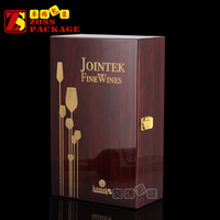 High End Wooden 2 Bottle Wine Glass Packing Box