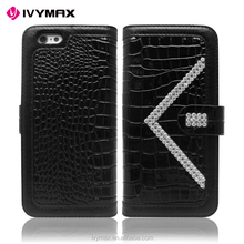 High Quality Luxury Crocodile Bling PU Leather Wallet Flip Pouch Cover Case Alligator Sparkle Wallet Case for Iphone 6