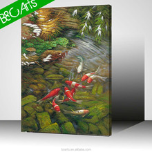 Beautiful lakescape painting realist craps printed canvas famous fish wall art