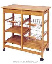 natural Bamboo kitchen trolley with 4 wheels trolley with baskets