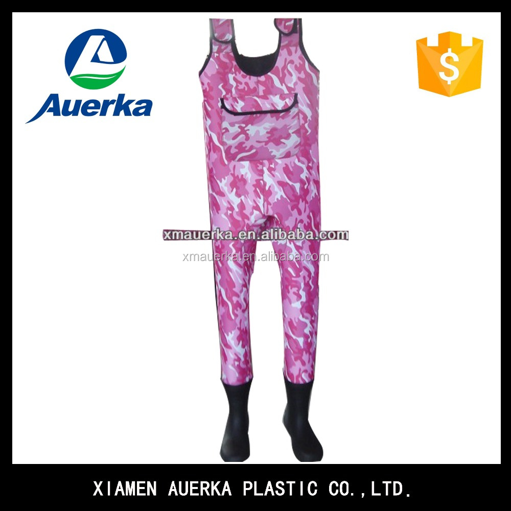 Custom made breathable pink camoneoprene chest wader for fishing