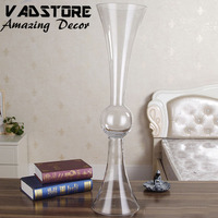 "30"" headstand clear trumpet glass vase wedding table centerpiece flower holder centerpiece reversible glass vase"