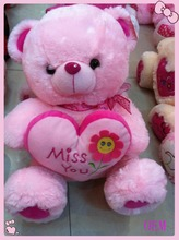 Custom soft stuffed plush funny pink bear with heart cushion