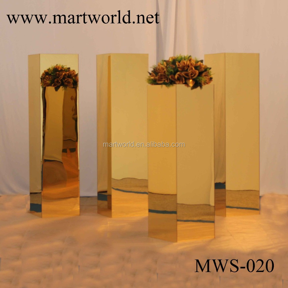 acrylic gold mirror stand pillar wedding decorate mirror stand wedding decoration pillar wedding decoration column (MWS-020)