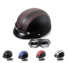 High quality ABS & PU Leather Motorcycle Open Half Face Helmets With Motorcycle Goggles for Sale