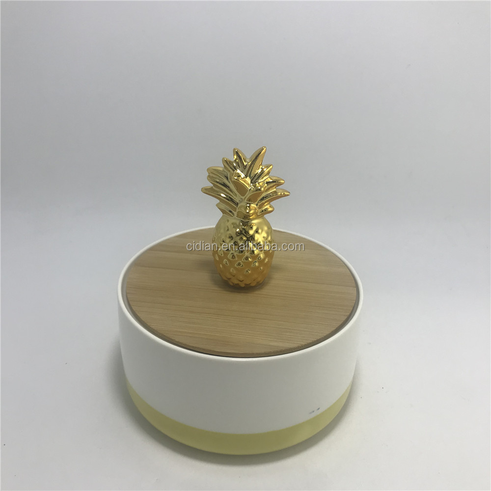 Gold plating pineapple ceramic trinket jewelry Boxes