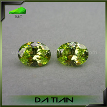 Apple green oval cut cz stones cubic zirconia synthetic diamond beads