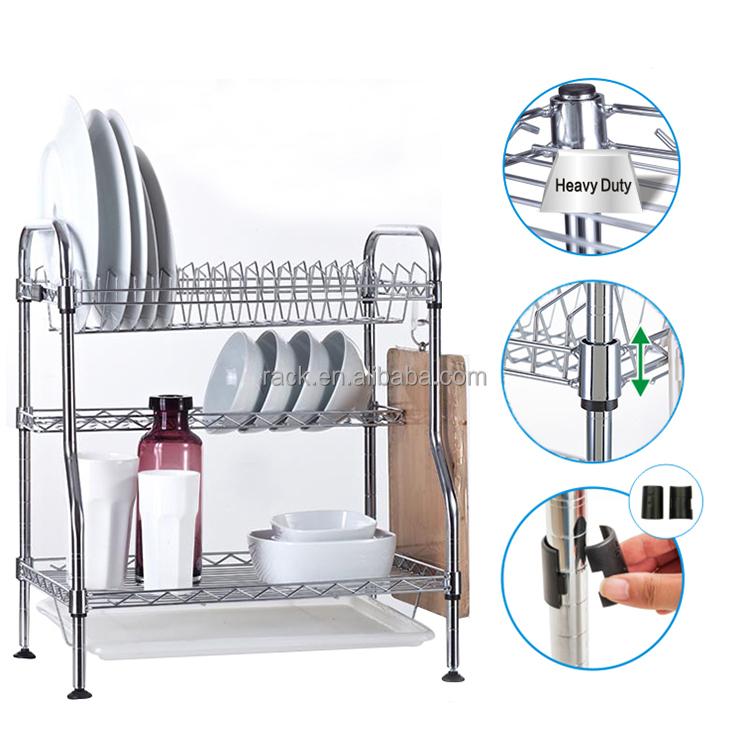 Cromo estante para platos de cocina de acero y la placa de for Soporte platos cocina
