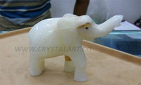 White Agate Carved Elephant
