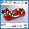 High quality stainless steel 18/8 pet bowl with melamine base, double dog bowl for both water and food