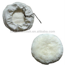 "8"" Sheepskin Tie-on Bonnets Wool Buffing Refinishing pad with Tether Strap"
