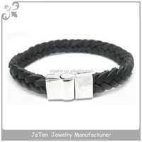 Plain Black Braid Leather Bracelet With Stainless Steel Magnet Clasp