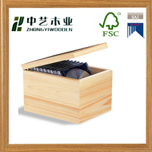 FSC solid pine Set of 10 unfinished CD DVD wooden box wooden case wedding DVD box wood packaging box