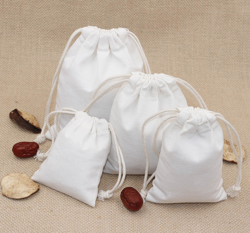 Gift Bags for Girls Children Canvas Pouch Drawstring Solid Color Candy Gift Storage Bags